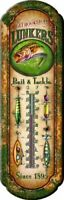 Fishing Tin Thermometer Indoor Outdoor Vintage Bait & Tackle Fish Design