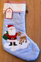 New Pottery Barn Kids QUILTED SANTA & RUDOLPH Christmas Holiday Stocking