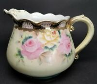 NIPPON c. 1891 Wild Rose Cider PITCHER Jug Gold Gilt BLUE MAPLE LEAF MARK