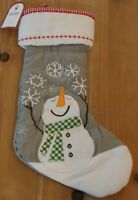 New Pottery Barn Kids QUILTED SNOWMAN with Snowflakes Christmas Holiday Stocking