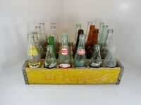 Antique Dr. Pepper Wooden Case and Antique Bottles, Coca-Cola, Mason's Root Beer