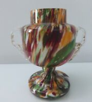 Czech / Bohemian Spatter Glass Vase with Handles