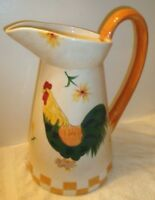 Vtg X-Large Rooster Chicken Pitcher 200 oz Hand Painted 14.5