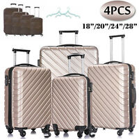 4 Piece Luggage Set Trolley Travel Suitcase Nested Spinner ABS wCover Champagne