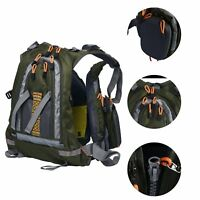 Adjustable Fly Fishing Backpack Vest Back Pack Fishing Outdoor Olive Green