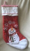 Pottery Barn Kids Snowman w/Snowflakes Red Quilted Stocking