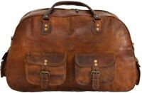 Men's Real Leather Travel Luggage Garment Duffel Gym Bags Messenger Shoulder New