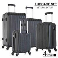 Set of 4 Lightweight Luggage Set ABS Travel Rolling Spinner Hard Shell Suitcases