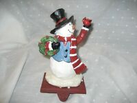 Stocking holder snowman with wreath cardinal 7