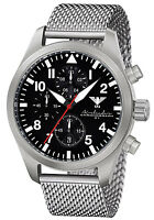 Pilot Watch German Airleader Chronograph C1-Light Date Silver Mesh Band 10 ATM