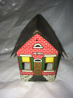 West Brothers 1914 candy tin Tin Litho metal Building School House 105 years old
