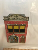 West Brothers 1914 candy tin Tin Litho metal Building Fire Station 105 years old