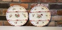 Set (2) Superb French Majolica asparagus plate  flowers  Sarreguemines-Digoin