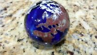 Lundberg Studios hand blown large glass paperweight 1997 planet earth globe blue