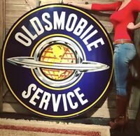 1930-50s Original Oldsmobile Service Porcelain Dealership Sign DSP 60in w/ring