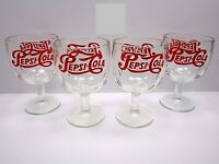 Vintage Red Logo Pepsi Cola Heavy Duty Clear Glass Thumbprint Goblets Glasses