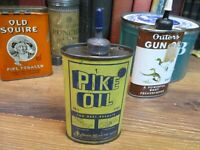 PIKE OIL HOUSEHOLD OIL CAN LEAD HANDY MACHINE 43OZ TIN ORIGINAL BEHE- MANNING