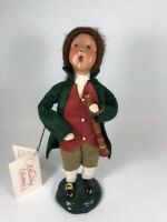 Byers Choice Williamsburg Child Colonial Boy w/ Clarinet Green Coat 1998 Signed