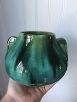 Old Brush McCoy Pottery Green Onyx 2 Ear Handled Squatty Vase