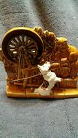 Vintage McCoy Planter Spinning Wheel Cat White Scottie Dog Brown Green USA