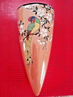 Vintage Made in JAPAN WALL POCKET VASE Lusterware Cherry Blossoms Pheasant