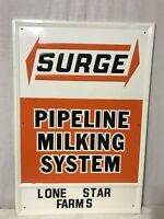 Rare Surge Pipeline Milking System Metal Embossed Advertising Sign Stout