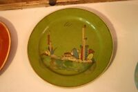 Vintage Mexican Green Tlaquepaque tourist pottery plate Napping man cactus
