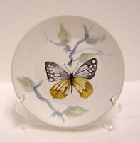 Marcel Guillot French Pottery Plate Hand Painted Butterfly Vintage Signed HTF