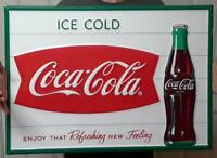 COCA COLA EMBOSSED FISHTAIL & BOTTLE SIGN