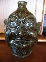 LANIER MEADERS RARE CLOSED MOUTH Tobacco Spit Glaze Face Jug c1980#x27;s