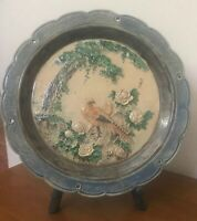 Antique French Majolica Plate Pheasant Bird Tree Flower 19th Century EXCELNT 12""