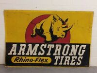 EX. RARE LARGE GOLD VERSION Armstrong Tire Sign Single Side Tin Sign OIL GAS