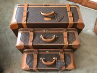 LOUIS VUITTON Vintage Set of 3 Luggage Case Suitcase Travel Bag