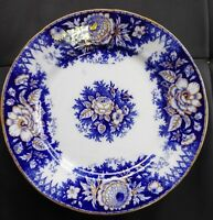 ANTIQUE FRANCE JARDINIERE B.F. BOCH FRERES FLOW BLUE & GOLD FLOWERS PLATE