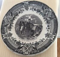 Antique SARREGUEMINES Black Transferware NAPOLEON - GENERAL TOULON 7 3/4
