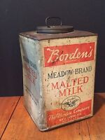 Antique Vintage Borden's Meadow Brand Malted Milk Advertising Tin