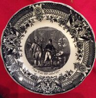 Antique French SARREGUEMINES Black Transferware NAPOLEON  7 3/4
