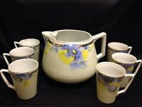 Vintage Nippon Lemonade Pitcher & Cups Hand Painted TE-OH Blue Floral Gold Gild