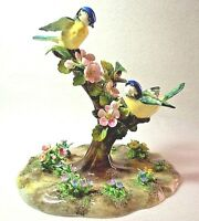 Crown STAFFORDSHIRE J. T. JONES Designed Fine China Two Blue Tit Birds Figurine