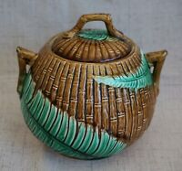 MAJOLICA Fern and Bamboo SUGAR BOWL with LID - 4 3/8
