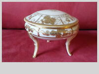 Vintage Nippon Gold Moriage 3 Legs Covered Dresser Trinket Dish Hand Painted Exc