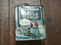 VTG VERMONT PURE MAPLE SYRUP TIN METAL CAN 32 OZ 1 QT SUGAR GROWERS EXCELLENT