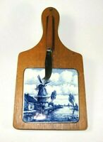 RARE* VINTAGE DELFT BLUE WOODEN / TILE CUTTING BOARD AND KNIFE: Circa 1965