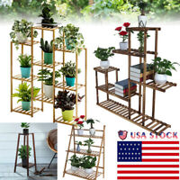 Multi-Tier Wood Plant Stand Planter Rack Flower Pots Holder Display US Stock