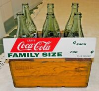 1950's Family Size Coca Cola Six Bottle Wood Crate + 6 32 oz Bottles + Rare Sign