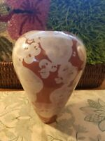 Studio Art Crystalline Pottery Brown Dark Orange 10 1 2quot; Vase Signed Mantte