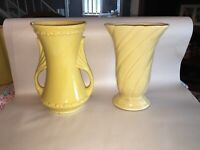 Pair Of Vintage Art Pottery Yellow Vases 178 USA Mid Century Design