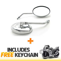 MOTORCYCLE CRUISER SCOOTER ATV MIRRORS Chrome + BOLT ADAPTER+Sportbike Keychain