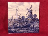 Vintage Delft's Blauw Ceramic Tile Of Ship and Windmills, Made In Holland