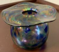 Wimberley Glass Works Blown Vase 2003 WGW Sign Art Spatter Swirl Blue Ruffle Rim